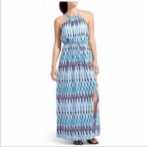 Athleta Ikat Sunset Halter Maxi Dress Size